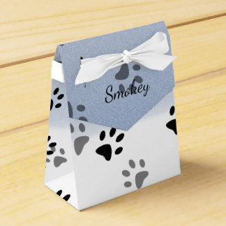 Cheeky Cat Footprints in Snow Template Wedding Favour Boxes