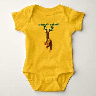 Cheeky chimp, grinning monkey swinging on vine tee shirt