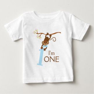 Cheeky Monkey Blue Stripes 1st Birthday Baby T-Shirt