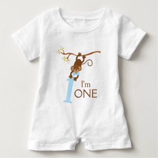 Cheeky Monkey Blue Stripes 1st Birthday Tee Shirt