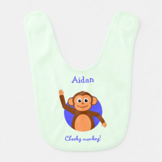 Cheeky monkey personalized teal bib