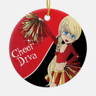 Cheer Diva Red Cheerleader Girl Christmas Ornament