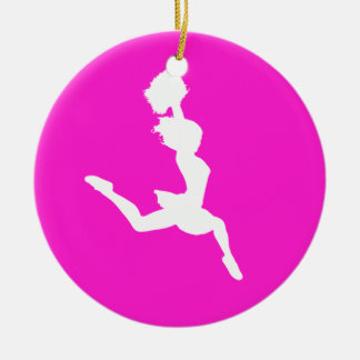 Cheer Silhouette Ornament Pink