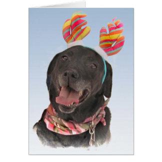 Cheerful Black Labrador Retriever Dog Card