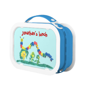 Cheerful Colorfully Painted Caterpillar Lunch Box