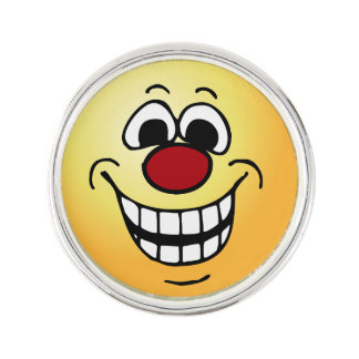 Cheerful Face: Congratulations on getting fired Lapel Pin