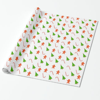 Cheerful Ginger Bread Man Candy Cane TreChristmas Wrapping Paper