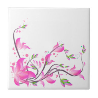 cheerful Lovely Pink Flower decoration guard Small Square Tile