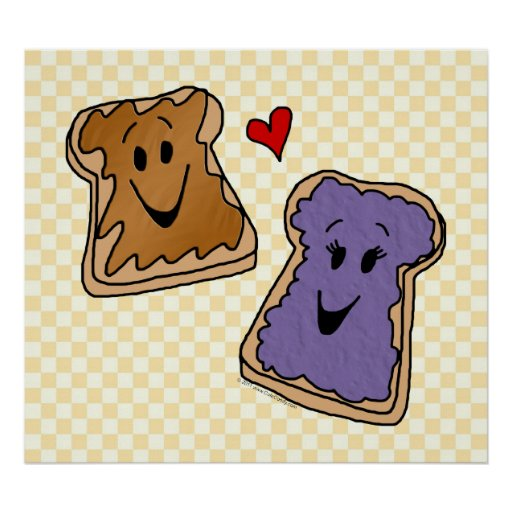 Cheerful Peanut Butter And Jelly Cartoon Friends Poster