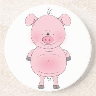 Cheerful Pink Pig Cartoon Beverage Coaster