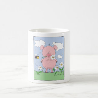 Cheerful Pink Pig Cartoon Magic Mug