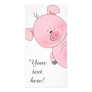 Cheerful Pink Pig Cartoon Photo Card