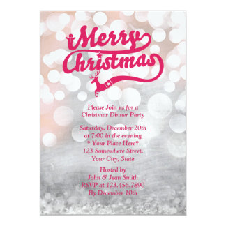 "Cheerful Silver Christmas Dinner Party Invitations 5"" X 7"" Invitation Card"