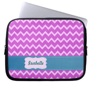 Cheerful Trendy pink animal print chevron Laptop Computer Sleeve