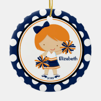 Cheerleader Girl Christmas Ornament Blue Gold