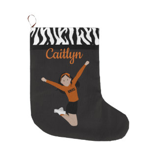 Cheerleader With Black Hair In Black And Orange Large Christmas Stocking
