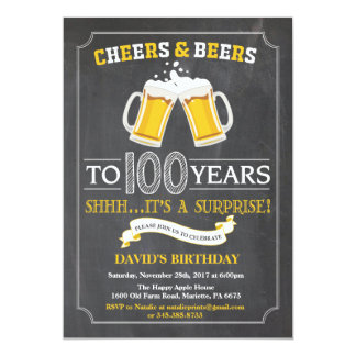 Cheers and Beers 100th Birthday Invitation Card