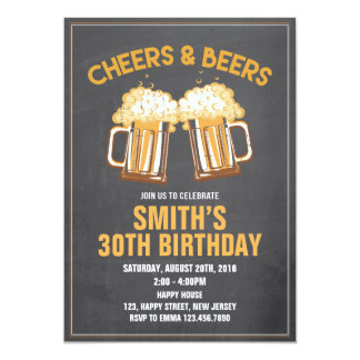 Cheers & Beers Birthday Invitation - Any Age