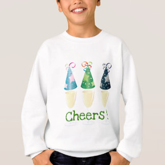 CHEERS! CHAMPAGNE PARTY HAT PRINT SWEATSHIRT