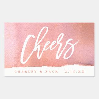 Cheers Coral Watercolor Mini Wine Champagne Label