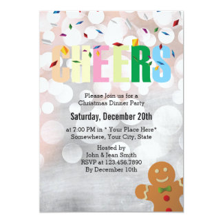 Cheers Silver Christmas Dinner Party 13 Cm X 18 Cm Invitation Card