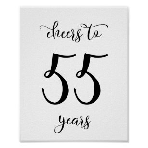 Cheers To 55 Years Birthday Sign