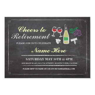 Cheers to Retirement Party Chalk Wine Invitation