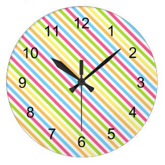 Cheery multi color stripes wall clock