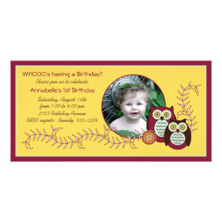 Cheery Owls 1st Birthday Photo Card - Yellow