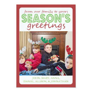 Cheery Season's Greetings Card (Burgandy / Green)
