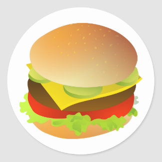 Cheeseburger with Lettuce, Tomato, and Pickles Classic Round Sticker