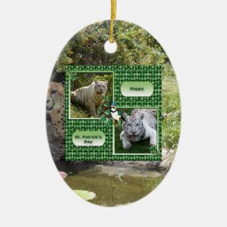 Cheetah Christmas Card Ceramic Oval Decoration