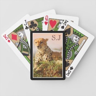 Cheetah cub baby monogram Africa Bicycle Playing Cards