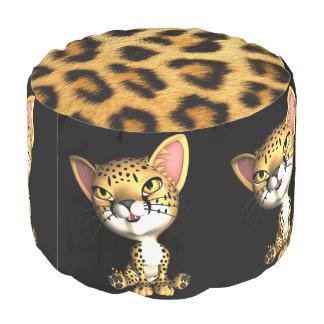 Cheetah In Fur Pouf