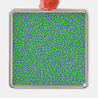 Cheetah print blue on green christmas ornament