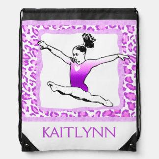 Cheetah Print Gymnastics in Purple w/ Monogram Drawstring Bag