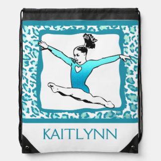 Cheetah Print Gymnastics in Turquoise w/ Monogram Drawstring Bag