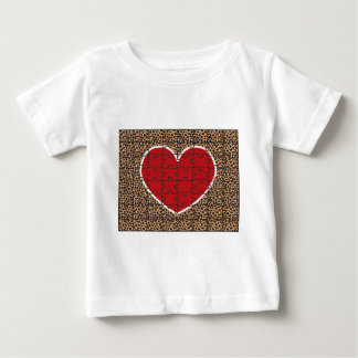 Cheetah Print Heart Puzzle Pieces Baby T-Shirt