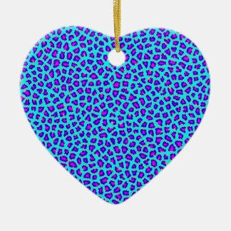 Cheetah Print Purple on Blue Christmas Ornament