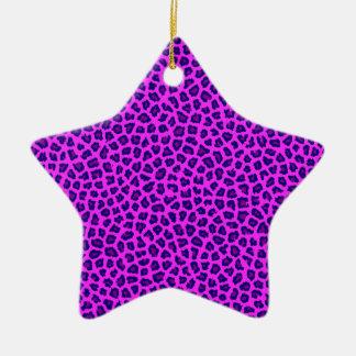 Cheetah Print Purple on Pink Christmas Ornament