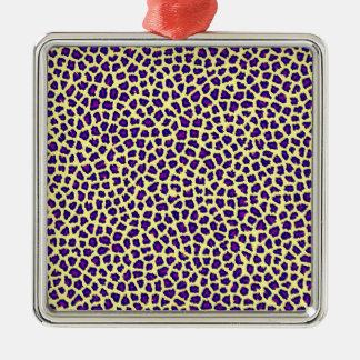 cheetah print purple on yellow christmas ornament