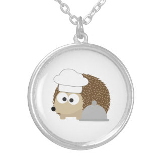 Chef Hedgehog Silver Plated Necklace