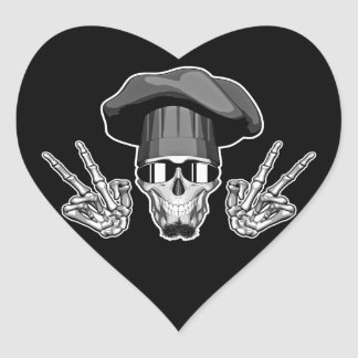 Chef Skull: Peace Sign Heart Sticker