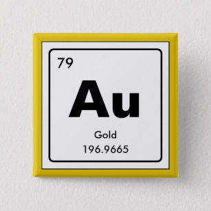 Gold periodic table accessories zazzle chemical periodic table of elements au 15 cm square badge urtaz Image collections