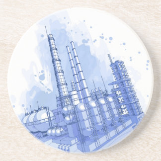 Chemical plant & watercolor background coaster