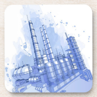 Chemical plant & watercolor background drink coaster