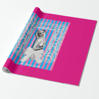 Cherrie Au Lait Sweetshop Cute Retro Pinup Girl Wrapping Paper
