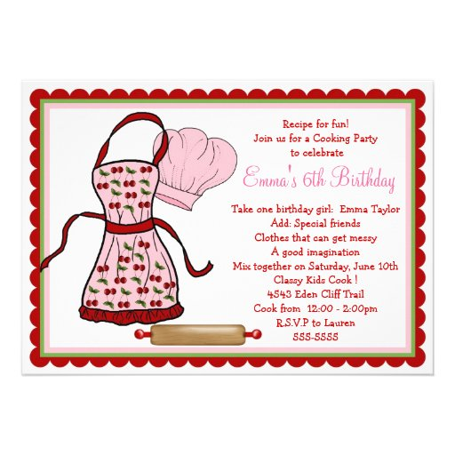 Cherries Apron and Chef Hat Birthday Invitations on Zazzle.co.nz
