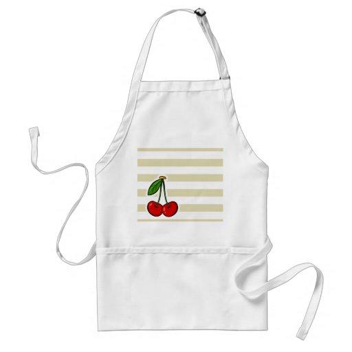 Cherries on Beige Stripes; Striped Apron