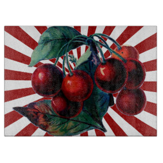 Cherries on Red Burst of Rays Cutting Boards